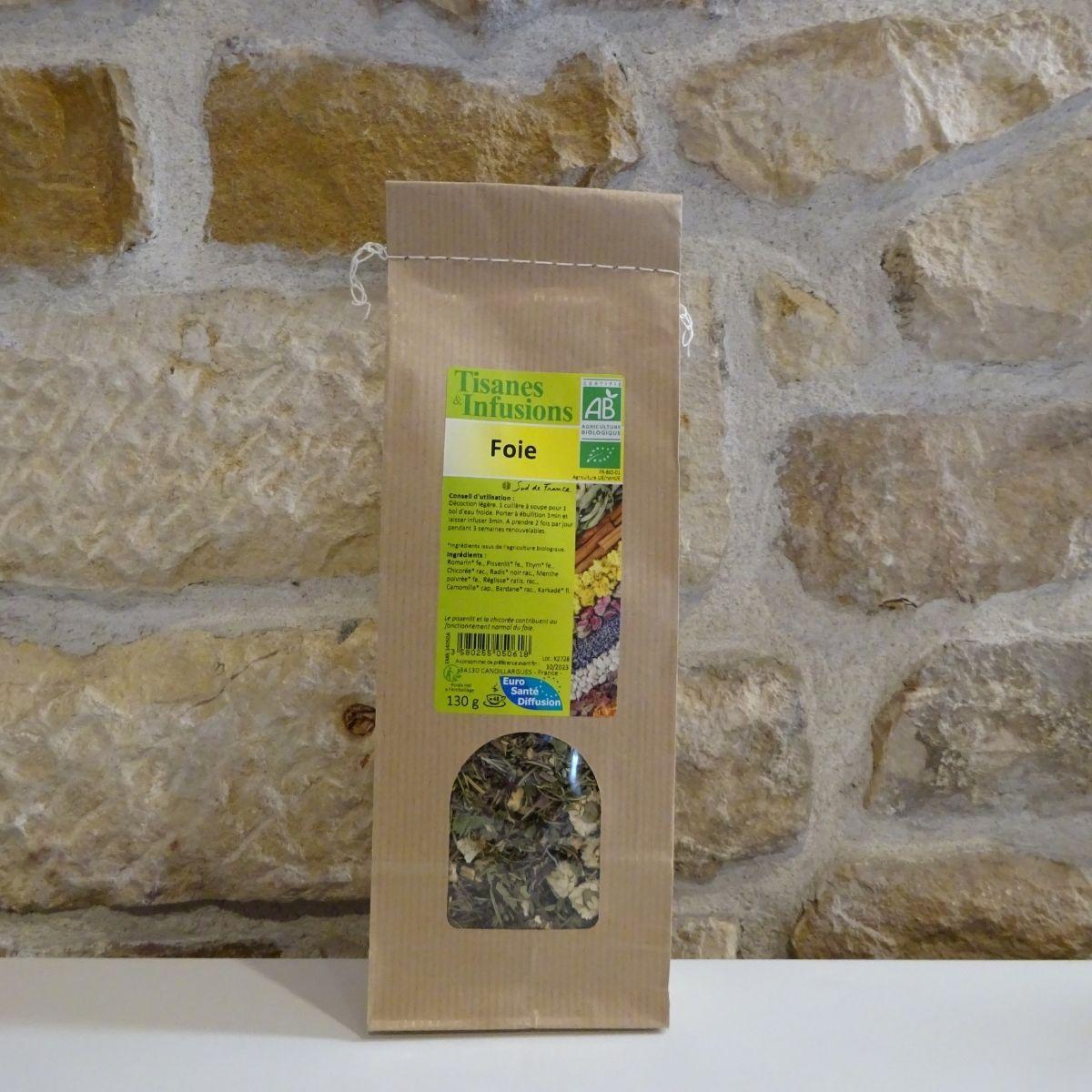 Tisane pour le foie, sachet de 130g bio. Herboristerie des mille feuilles