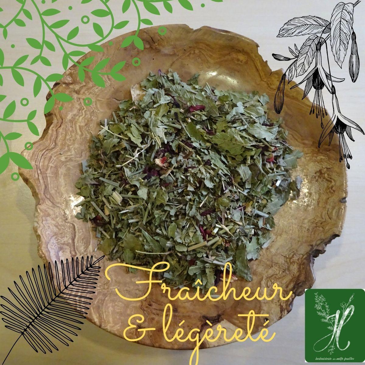 Tisane Fraîcheur et légèreté - bio. Herboristerie des mille feuilles
