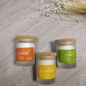Bougies parfumées aux huiles essentielles Manolia cosmétiques Herboristerie des mille feuilles