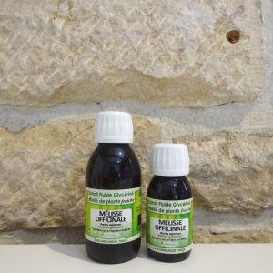 extrait fluide glycériné miellé de Mélisse bio, disponible en 60ml et 125 ml. Herboristerie des mille feuilles