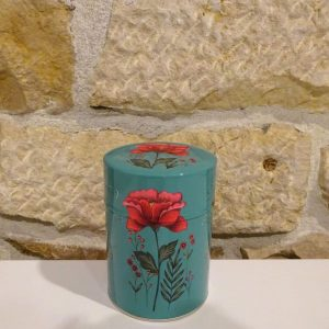 Boite fleur rouge double couvercle. Herboristerie des mille feuilles