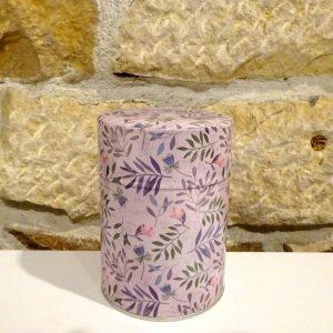 Boite à thé motif feuilles, avec un double couvercle. Herboristerie des mille feuilles
