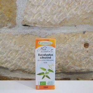 Huile essentielle d'Eucalyptus citronné bio, flacon de 10ml. Herboristerie des mille feuilles