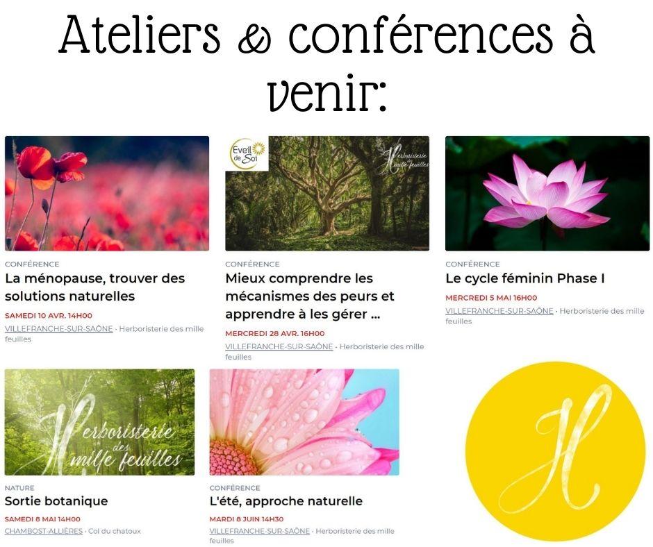 Ateliers et conférences de l'Herboristerie des mille feuilles à Villefranche sur saône.
