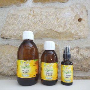 Huile végétale d'amande douce bio, disponible en flacons de 30ml, 125 ml et 250ml. Herboristerie des mille feuilles
