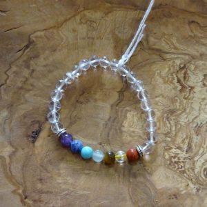 Bracelet Cristal de roche Chakras, petites perles de 6mm. Herboristerie des mille feuilles