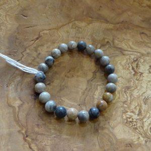 Bracelet en Jaspe feuilles d'argent. Herboristerie des mille feuilles