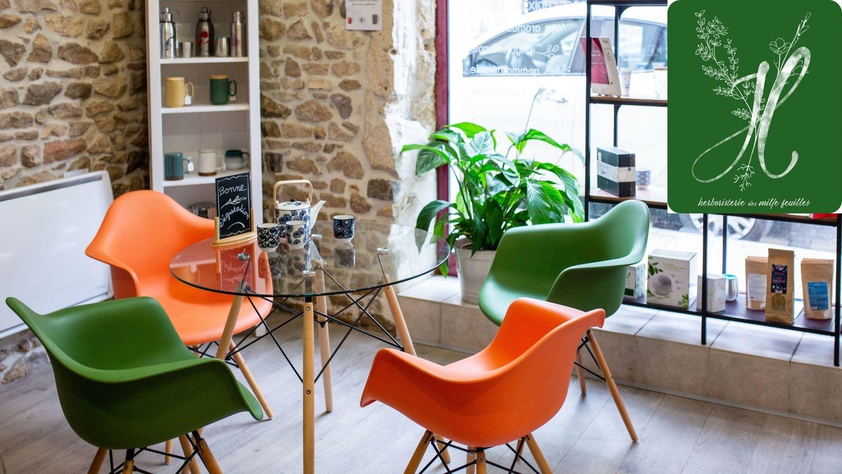 Bar à tisanes de l'Herboristerie des mille feuilles à Villefranche sur saône.