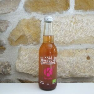 kombucha à la grenade, bouteille en verre de 33cl. Herboristerie des mille feuilles